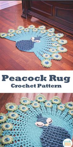 CROCHET PATTERN Pavo the Peacock Rug Nursery Mat Carpet PDF Crochet Pattern with Instant Download #ad #crochet