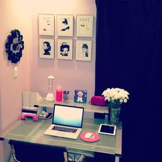 Girly Home Office #home<3 Visit www.thatdiary.com for guide + advice on #lifestyle