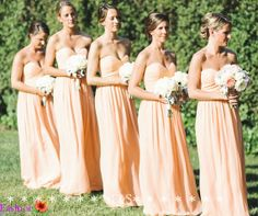 Peach Bridesmaid Dress, Coral Long Bridesmaid Dress Chiffon, Pregnant Wedding Party Dress, Empire Sexy Mint Peach Summer Wedding Bridesmaid