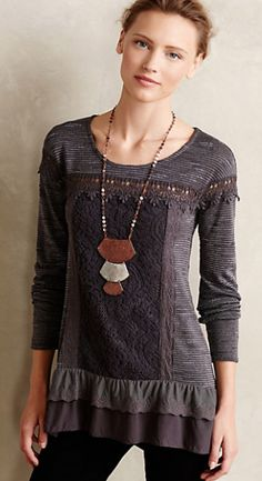 beautiful grey lace tunic #anthrofave  http://rstyle.me/n/r37bipdpe