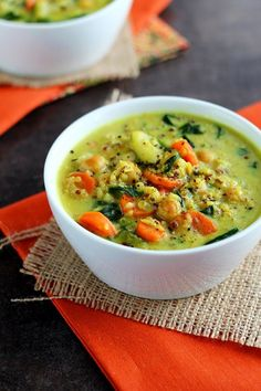 Chickpea & Vegetable Coconut Curry Soup - vegan , gluten free