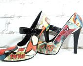 Spider-Man Comic Book Heels. Wedding Day. Birthday. For Her. Sexy Cool Pumps for Geeky Cool Girls.