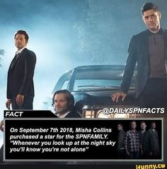 """On September Misha Collins purchased a star for the SPNFAMILY. """"Whenever you look up at the night sky you'll know you're not alone"""" - iFunny :) Supernatural Facts, Supernatural Wallpaper, Supernatural Bunker, Supernatural Crossover, Supernatural Bloopers, Supernatural Tattoo, Supernatural Seasons, Misha Collins, Superwholock"""