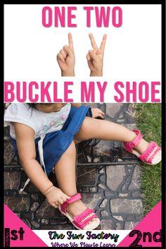 One Two Buckle My Shoe Nursery Rhyme Activities Kindergarten Lesson Plans, Kindergarten Teachers, Elementary Education, Childhood Education, The Fun Factory, Rhyming Activities, Preschool Age, Teacher Blogs, Nursery Rhymes
