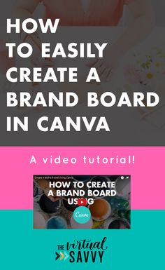 Watch this video tutorial on creating a mood board for free with Canva!! via The Virtual Savvy| How to easily create a brand board in canva for virtual assistants and business owners. #va #virtualassistant #marketing #socialmedia #blogging #branding