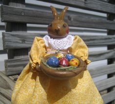 Rabbit Clothespin Doll with Decorated Easter Eggs. $15.00, via Etsy.