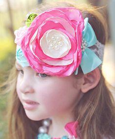 This Hot Pink & Aqua Flower Garden Headband is perfect! #zulilyfinds
