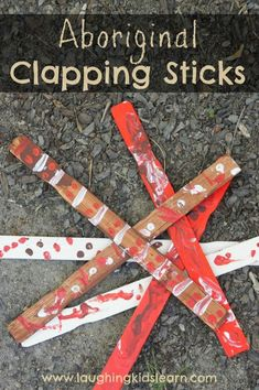 Aboriginal Clapping Sticks - Laughing Kids Learn - NADIOC Week Ideas - There is so much about Australia that I love, however, I have always been interested in the beautif - Around The World Crafts For Kids, Around The World Theme, We Are The World, Around The Worlds, Aboriginal Art For Kids, Aboriginal Education, Indigenous Education, Aboriginal Culture, Aboriginal Symbols