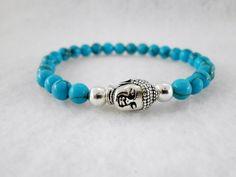 Unisex Turquoise & Silver Buddha Cuff. Chakra Balancing. Serenity. Compassion. Forgiveness. Throat Chakra. by MECODesignsJewelry on Etsy