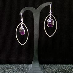 Silver Marquise hoops with silver framed Amethyst Dangle earrings. Bridal earrings, statement, gemstone, handmade, for her, purple colour by Menir on Etsy