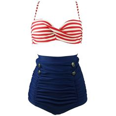 Cocoship Red White Stripe & Navy Blue High Waisted Bikini Buttons... ($24) ❤ liked on Polyvore featuring swimwear, bikinis, white high waisted bikini, red bikini, swimsuits bikinis, high-waisted bikinis and high waisted swimsuit