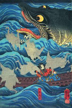Utagawa Kuniyoshi. L'Empereur retiré Sutoku envoiesesvassaux au secours de Tametomo (détail, 1851). exposition à paris petit Palais jusqu'au 17 Janvier