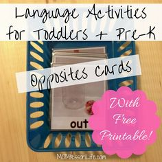 Language Activities for Toddlers and Preschoolers - Opposites Cards with Free Printable from MOMtessori Life
