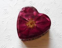 Acrylic Heart Paperweight With Rose Anniversary Gift