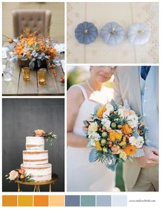 Blue and orange wedding inspiration / fall wedding inspiration / see more http://www.midwestbride.com/2015/10/03/dusty-blue-and-orange-wedding-inspiration/