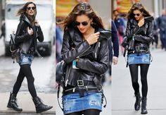 Alessandra Ambrosio jeans and black leather