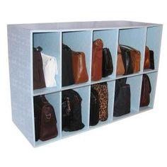 Windsor Luxury Living Park-a-Purse Handbag Storage Shelf Organizer (Handbag Holder), Blue (Wood) Diy Purse Organizer, Handbag Storage, Cube Organizer, Handbag Organization, Closet Organization, Organization Ideas, Purse Organizer Pattern, Purse Rack, Organizing Solutions