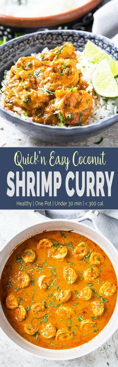 Quick and easy Coconut Shrimp Curry - Delicious shrimp cooked in coconut milk and tomato gravy. Perfect healthy recipe for lunch or busy weeknight dinner. | #shrimp #coconutcurry #curry #onepan  via @watchwhatueat