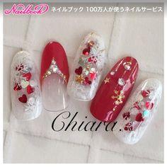 Korean Nail Art, Korean Nails, Japanese Nail Design, Japanese Nail Art, Red Nail Designs, Winter Nail Designs, Xmas Nails, Red Nails, Cute Nails