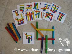 Popsicle Stick Patterns Busy Bags This is a brain workout. Kids need to match the pattern on the cards with colored popsicle sticks to make it look like the card. And I like the other brain building activities on this site. Educational Activities, Toddler Activities, Learning Activities, Kids Learning, Kindergarten Math, Preschool Activities, Busy Boxes, Pattern Matching, Math Centers
