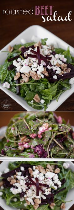 This easy to make and bursting with flavor Roasted Beet Salad is made with roasted beets, goat cheese, walnuts, baby spinach, and a homemade vinaigrette.