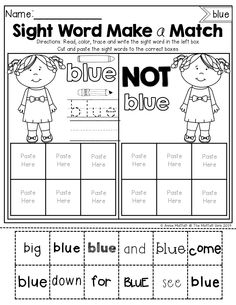 Sight Word Make a Match!  A focused sight word on each page allows students to read and recognize words in a variety of printed and published styles!