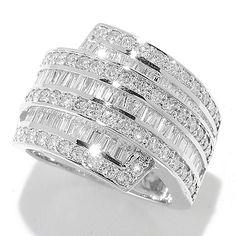Pamela McCoy Gems of Distinction™ 14K Gold 2.48ctw Baguette & Round Diamond Seven-Row Wide Band Ring