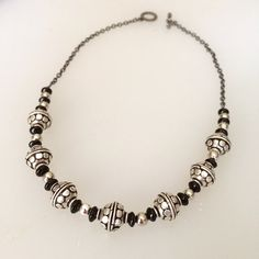 Black silver beaded necklace Contemporary by BarbsBeadedJewelry