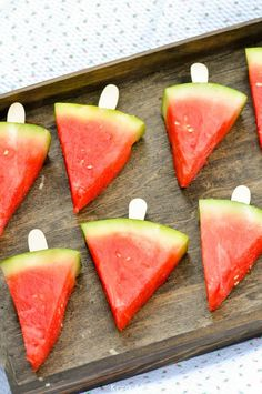Sticks in watermelon pieces! Picnic in the Park by Kara Allen | Kara's Party Ideas in NYC Central Park