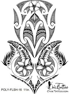 ChickTattoo.. Polynesian Flower Tattoo Flash Design