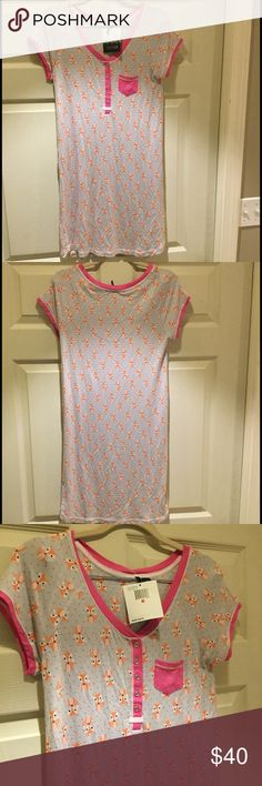 NWT Kenzie Fox Print Jersey Knit Henley Sleepshirt Supersoft and comfy Kenzie sleepshirt.  Button front and chest pocket in contrasting fabric to nightgown's fox print.  Short sleeves.  Round neckline.  Rayon/spandex.  Hard to find style and print. Kensie Intimates & Sleepwear Chemises & Slips