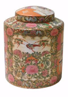 Chinese Oriental Porcelain People Scenery Container Box w207S