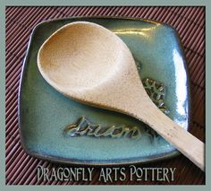"""The """"What can I do with that"""" dish - Stoneware - Pottery - Spoon Rest - Soap Dish - Dessert Plate - Personalize It. $8.00, via Etsy."""