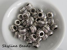 Tibetan Style European Beads Antique Silver 9.5mm by SkylineBeads, $5.00