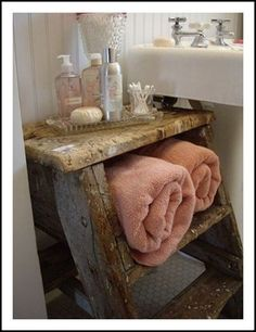 Cute idea for shelves. Especially if they leave old wood latter outside. Separate 2 pieces and hang