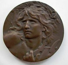 1900 FRENCH ART NOUVEAU BRONZE MEDAL SCULPTURE LUCIEN COUDRAY INTL EXHIBIT PARIS