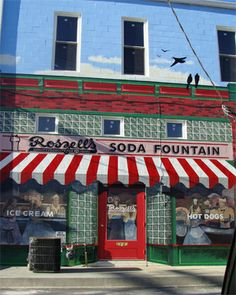 Roszell's Soda Fountain - Pontiac, Illinois Pontiac Illinois, American Diner, Out To Lunch, Soda Fountain, Joshua Tree National Park, Route 66, Small Towns, Shops, Outdoor Decor
