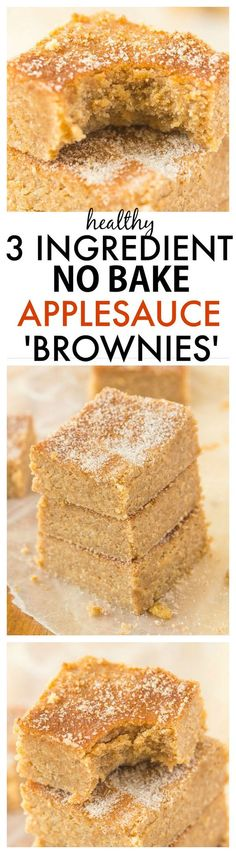 Healthy No Bake Applesauce Brownies with just THREE ingredients- So delicious, quick, low in fat and easy, it will be your go-to snack or treat recipe! {vegan, gluten-free, paleo