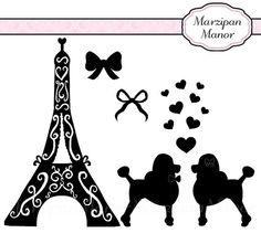 Digital Clipart  Silhouette Paris Poodles  Clip by MarzipanManor, $4.00