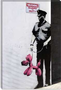 The idea is to occupy Facebook with art, whoever likes this post will receive an artist and is asked to publish a piece by the artist with this text. Banksy cop with a Jeff Koons balloon dog