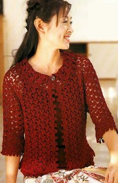 Openwork crochet jacket with diagrams at site. Pull Crochet, Crochet Jacket, Crochet Poncho, Crochet Cardigan, Shrug Sweater, Lace Knitting, Irish Crochet, Lace Patterns, Crochet Patterns