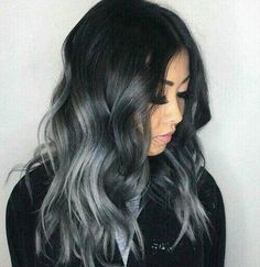 Ombre grey curly hairstyle