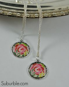 Easy DIY Pendant and Necklace - Suburble  glue on dome pendant http://www.consumercrafts.com/store/details/catalog/jewelry-signed-sealed-and-remembered-line/ssr-048