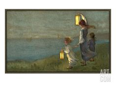 Children Signaling with Lanterns Stretched Canvas Print at Art.com