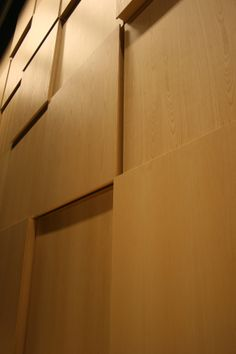 Wooden panels for acoustical reasons in a theatre. Academy for Music, Word and Dance, Ninove Belgium.