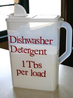 DISHWASHER DETERGENT- 1 cup Borax  1 cup Baking Soda  1/4 cup Table Salt  2 pkts Lemon Kool-Aid  Mix all, store in a tightly sealed container, use 1-2 tbsps per load of dishes.    LIQUID DISH SOAP -1 ½ cup of hot water  ½ cup liquid castile soap (like Dr. Bonner's)  1 tbsp of white vinegar  1 tbsp of Arm&Hammer's Super Washing Soda (used to thicken the soap)  1/8 teaspoon of tea tree oil (optional)  MIX ALL INGREDIENTS, THEN ADD THE HOT  WATER--WHISK TO MAKE SURE THEY ARE ALL WELL-BLENDED.