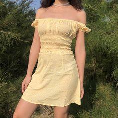 Vintage floral print elastic waist square neck puff sleeve yellow dress from FE CLOTHING Little Dresses, Cute Dresses, Vintage Dresses, Casual Dresses, Casual Outfits, Long Dresses, Summer Outfits, Look Fashion, Korean Fashion