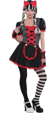 Is it too early to look for Halloween costumes? Meh. Whatever. This is Goth Doll from Party City, and I think I'm going to skip the wig & use my real hair if I get that color I like.