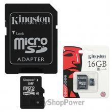 KINGSTON MEMORY CARD MICROSD CLASSE 4 HC 16 GB CON ADATTATORE SD MEMORIA DI MASSA UNIVERSALE PER SMARTPHONE CELLULARI BLACK NERA NUOVA - SU WWW.MAXYSHOPPOWER.COM