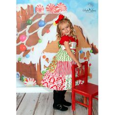 Natalia Christmas Holiday LilyandEbony Jumper Dress Sewing Kit by AllegroFabrics Sizes 2-8